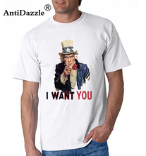 Antidazzle 2017 Fashion UNCLE SAM, Americana America, I Want You Uncle Sam Wants You. Recruitment Poster USA Men's Short Sleeve(China)