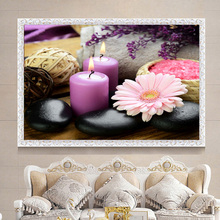 "circular Diamond 5D DIY Diamond Painting ""Flower & Candle Stones"" Embroidery Cross Stitch Rhinestone Mosaic Painting Gift"