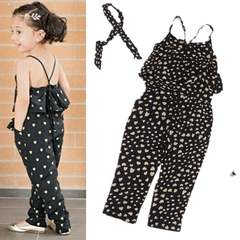 2017 girls Rompers clothes kids Girls harness heart-shaped piece clothing set kids summer Jumpsuit clothes<br><br>Aliexpress