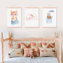 Watercolor Cartoon Animal Horse Bear Fox Wooden Framed Canvas Paintin Kawaii Kids Room Deco Wall Art Print Picture Poster Scroll(China)