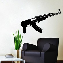 Wall Decal AK47 Gun Russia Wall Decals Vinyl Sticker Wall Sticker For Living Room House Decoration(China)
