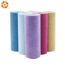 10YardX15cm Bling Crystal Tulle Roll Organza Sheer Gauze Element For Table Runner And Home Garden Wedding Party Decoration(China)