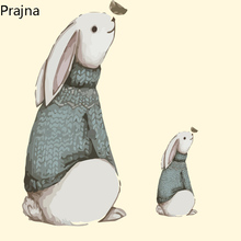 Prajna Cartoon Rabbit Iron On Transfers Stickers Hot Heat Vinyl Thermal Transfers For T Shirt Clothing DIY Badge Fabric Applique(China)