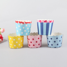 Fashion 50pcs Random Paper Baking Cups Muffin Cupcake Muffin Cake Hot Good Quality(China)