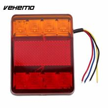 Vehemo Waterproof 24V 8 LED Red Yellow Rear Tail Warning Light Indicator Lamp for Trailer Boat Car Vehicle Light Car Styling