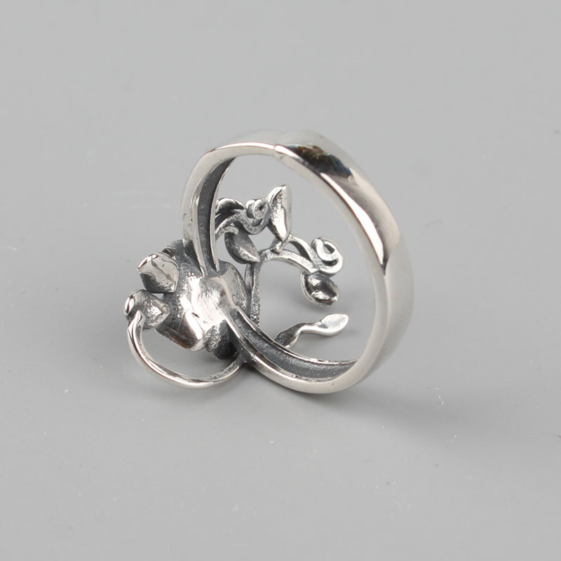 Small Band 925 Sterling Silver Rose Flowers Ring
