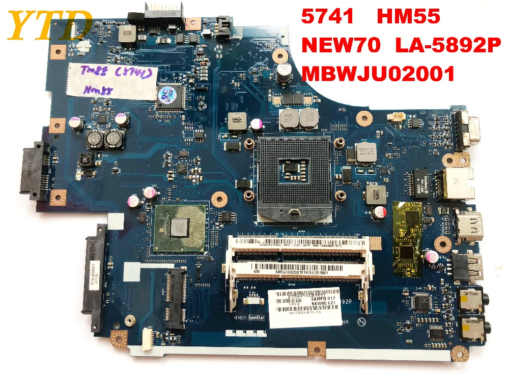 Original for ACER 5741  laptop motherboard  HM55  NEW70  LA-5892P  MBWJU02001 tested good free shipping connectors