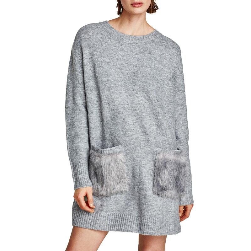 2017 winter dress casual patchwork womens clothing knitted sweater dress long sleeve women dress gray loose dressÎäåæäà è àêñåññóàðû<br><br>