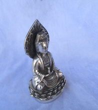 christmas decorations for home+ Collectible Tibetan silver Buddha sitting on a lotus statue/Guan yin Sculpture(China)