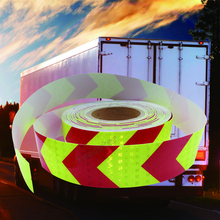 50mm X25m Lime red arrow PET Reflective Tape Reflective Safety Warning Tape Good Viscous Waterproof Long Service Life