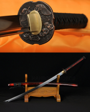 1060 Carbon Steel Handmade Katana Japanese Samurai Full Tang Sword Alloy Head Tsuba Oil Quenched Sharp Customized Blade 41""