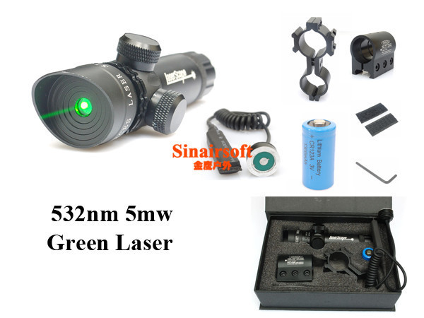 Tactical Green Laser Sight With Rail 2MountS/Rifle Laser Sight Laser Pointer,Laser Scope<br>