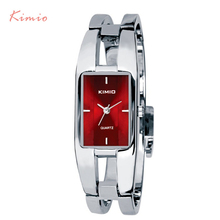 KIMIO Rectangle Bracelet Woman's Watch Ladies Stainless Steel Watches Luxury Brand Silver Plated Dress Quartz Watch With Box