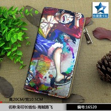 2016 Hot Selling Anime One Piece Colorful Long PU Wallet/Cell Phone Purse Printed with Monky D Luffy(China)