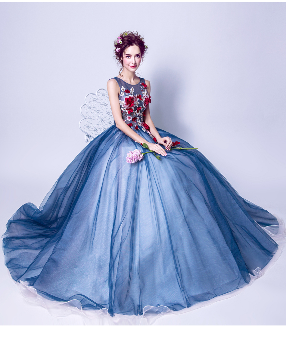 Angel Wedding Dress Marriage Evening Bride Party Prom Bridal Gown Vestido De Noiva Blue camouflage, fantasy flowers 2017 7572 10