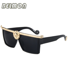 2016 Fashion Sunglasses Men Women Medusa Gold 3D Lion Brand Designer Sun Glasses For Ladies Vintage 0 Female Male RS003(China)