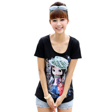 Plus Size Cartoon Image T shirt Women Shirt Cute Short-sleeve Women's T-shirt Tee Tops 2016 Summer Style Blusa camisetas mujer
