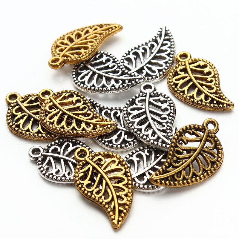 30Pcs Antique Leaf Charms Pendant DIY Craft Jewelry Making Findings Vintage Gold Silver Leaves Charms