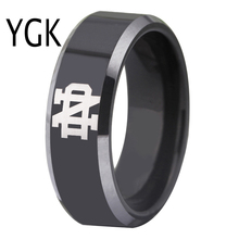 Free Shipping Customs Engraving Ring Hot Sales 8MM Black With Shiny Edges Notre Dame Design Tungsten Wedding Ring(China)