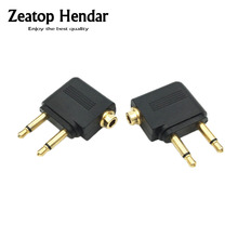 2Pcs High Quality Gold Airplane Headphone Audio Converter Adapter For Double 3.5mm Mono Plug To 3.5mm Dual Channel Stereo Jack(China)