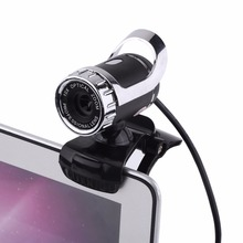 Silver Color USB 2.0 12 Mega Pixels Clip-on Webcam Web Camera HD 360 Rotating Stand Built-in Microphone for PC