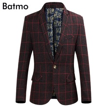 Batmo 2017 high quality famous brand casual plaid wine red blazer men Business blazer jacket plus-size M,L,XL,XXL,XXXL,4XL