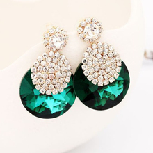Fashion accessories ornaments glittering crystal round rhinestone individual character  gold stud earrings for women #E233