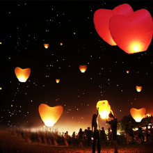 Hot Flying Wishing Lamp Hot Air Balloon Kongming Lantern Cute Love Heart Sky Lantern Party Favors For Birthday Party