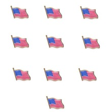 ANGRLY 10PCS American Flag Lapel Pin United States USA Hat Tie Tack Badge Pin Wedding Decoration Christmas Gifts Craft Supplies