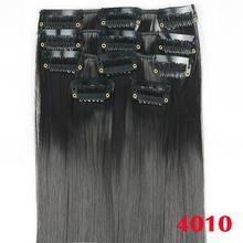 5pcs/set, dark black straight synthetic hair extensions, natural hair with clips, color 4010
