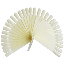 32pcs/set Natural/Transparent Plastic False Nail Art Tip Stick Display Practice Fan Board Nail Art Display Manicure Tool BENAO13(China)