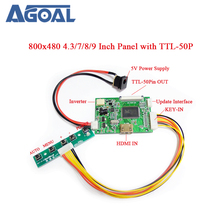 800x480 4.3 Inch 7 8 9 Inch HDMI 1080P to 50Pin TTL Signal Output LED LCD universal Controller Board+5Key Button+DC AT070TN92