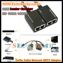 1pcs!30M HDMI EXTENDER Cat5e Cat6 Lan cable 3D 100ft 1080P Cable Network HDTV Adapter (Sender+Receiver) Support 1080P 3D
