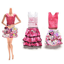 2 Pcs/set Cartoon Letter Strip Printing Short sleeve T-shirt Skirt for Barbie Doll Clothes Suits