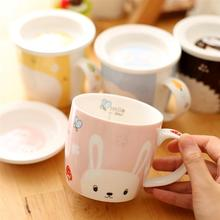 fashion Novelty Cartoon Tea Coffee and Milk Cup Cute Girl's Mugs with lid Animal Ceramic Mugs Novelty Tea Cups Nice Gifts ZSJ01