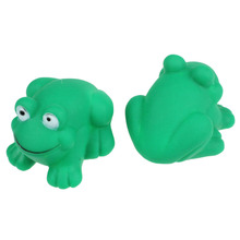 Kids Children Swimming Swim Pool Floating Bath Toy Cute One Dozen Rubber Cute Green Frog With Sound Shower Favors Baby Dec14(China)