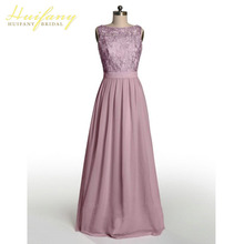 Dusty Rose Bridesmaid Dresses Scoop Neck Top Lace Backless Chiffon Long Floor Length Wedding Guest Dress Plus Size