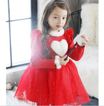 Winter Christmas New Year Girls Flash Gauze Thickened Fur Collar Dress Heart Lace Red Pink
