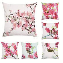 New garden fresh flowers peach flower polyester sofa pillowcase furniture decoration office pillowcase(China)