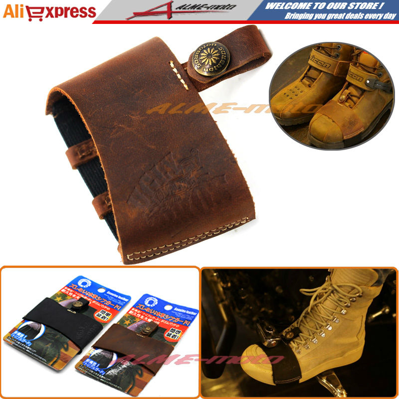 Newest Hot sell Motorcycle Pedal Gearshift Leather Shift Sock Boot Shoe Protector With 3D Logo Brown <br>