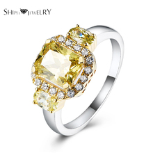 SHIPEI Brand Jewelry Yellow Ring In Plated White Gold with Top Square Brilliant Crystal,Carat Total Weight 2.7 for Women(China)