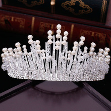 New Vintage Multilayers Luxury Silver Gold Crystal Pearl Tiara Crown Wedding Hair Accessories Bridal Party Jewelry Big Headbands(China)