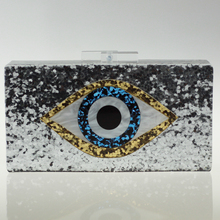 New Famous Designer Handbag Clutch for Women Mosaic Eye Acrylic Clutch Shoulder Bag Crossbody Chain Bling Bling Party Purse(China)