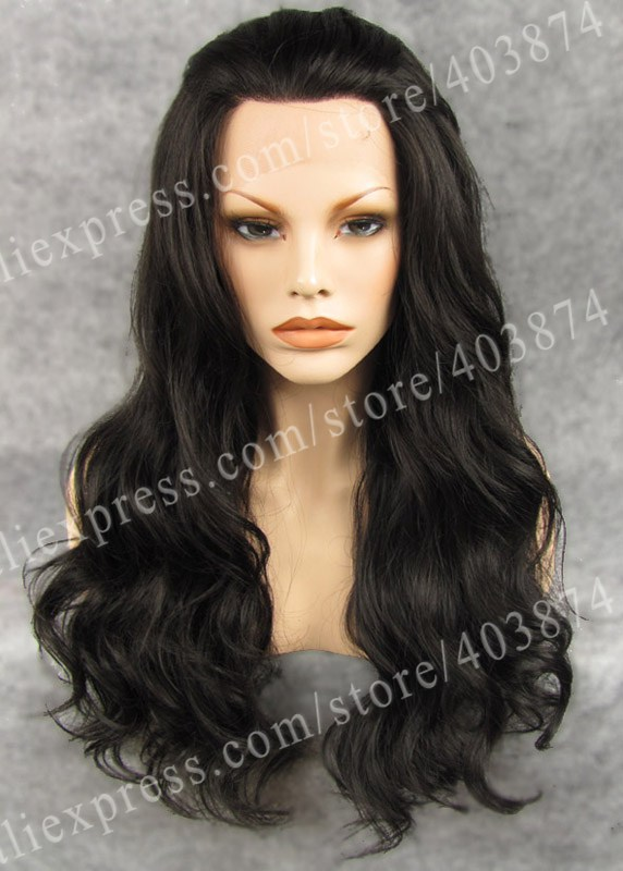 N7-4# Cheap Wig Fashion Long Body Wavy Dark Brown Color Synthetic  Lace Front Wigs<br><br>Aliexpress