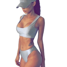 Trandy Sexy Women  Metallic Bandage Two Pieces Bikini Set Holiday Beach Brazilian Swimsuit Swimwear New Color Arrive