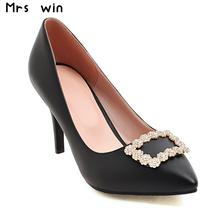 Big Size 34-43 2017 New Fashion high heels women pumps thin heel classic white black beige pink sexy wedding shoes