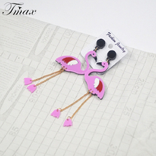 New Fashion 1 Pair Cute Seabird Acrylic Animal Flamingo Pendant Drop Earrings for Jewelry Women Party Earrings Wedding Gifts(China)