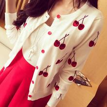 New 2016 cardigan women long sleeve Spring cardigans fashion embroidery cherry knitted cardigan sweater autumn cute tops(China)