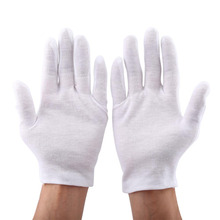 12 Pairs/Lot Practical White Cotton Work Safety Glove for Coin Jewelry Silver Inspection Protection Pure Cotton 100% Work Mitten