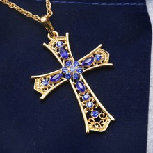 Golden Crucifix Jewelry 2017 Fashion Necklaces For Woman Rhinestone Cross Pendants Charms Necklace Sweater Jesus' Gift Necklaces(China)